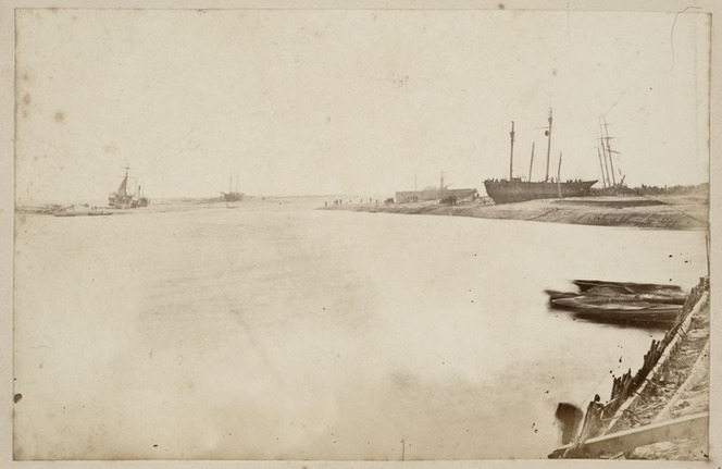 Hokitika River Mouth 1866 with shiprecks ashore