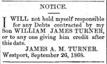 TURNER_William_NEWS_1868_WestCoastTimes_NoCreditJamesTurnerNotice