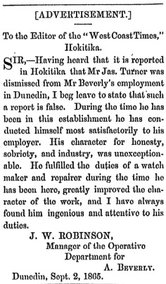 Arthur Beverley Reference (West Coast Times 16 Sept 1865)