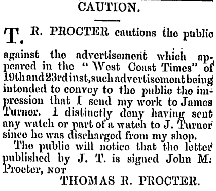 Rebuttal from Thomas Proctor, Hokitika