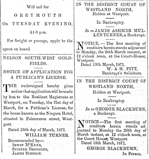 TURNER_William_NEWS_1871_WestportTimes_14March_LicenseApplication